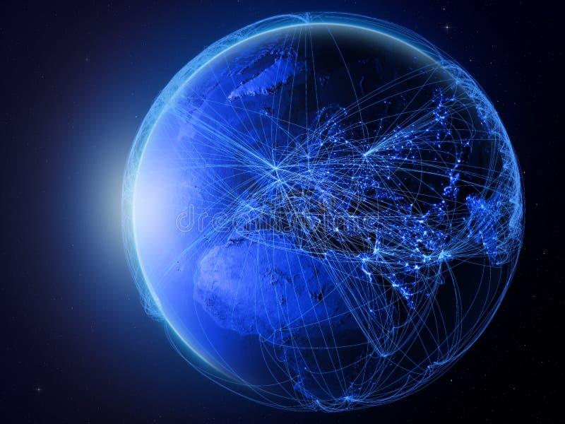 Montenegro op blauwe Aarde met netwerk stock illustratie