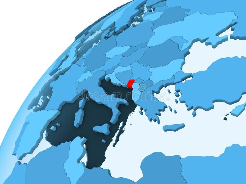 Montenegro op blauwe bol stock illustratie