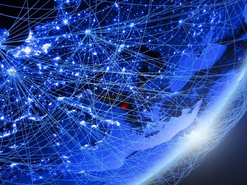 Montenegro op blauwe blauwe digitale Aarde stock illustratie