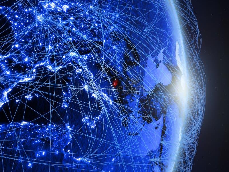 Montenegro op blauwe blauwe digitale Aarde royalty-vrije stock afbeelding