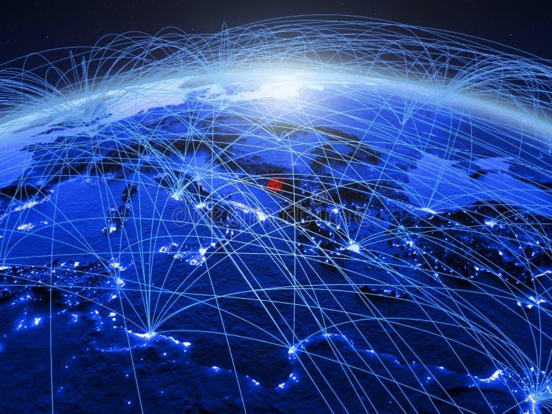 Montenegro op blauwe digitale aarde met internationaal netwerk die mededeling, reis en verbindingen vertegenwoordigen 3d stock foto's