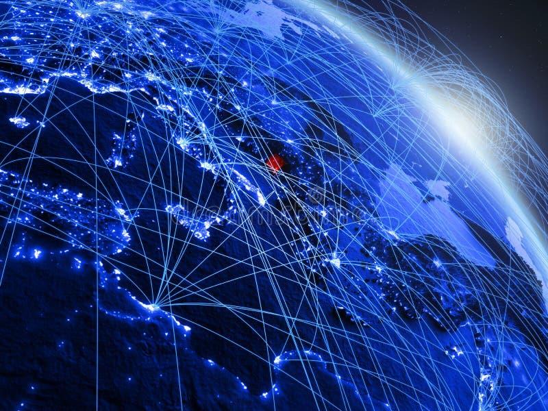 Montenegro op blauwe blauwe digitale bol royalty-vrije illustratie