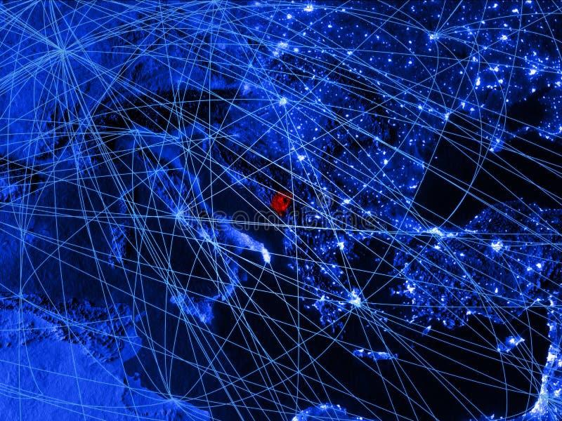 Montenegro op blauwe digitale kaart met netwerken Concept internationale reis, mededeling en technologie 3D Illustratie stock illustratie