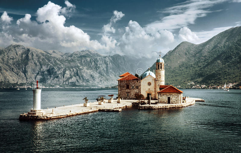 Montenegro, Our Lady of the Rocks, Perast. Our Lady of the Rocks is one of the two islets off the coast of Perast in Bay of Kotor, Montenegro. The Roman Catholic royalty free stock image