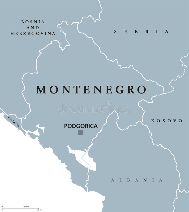 Montenegro political map vector illustration