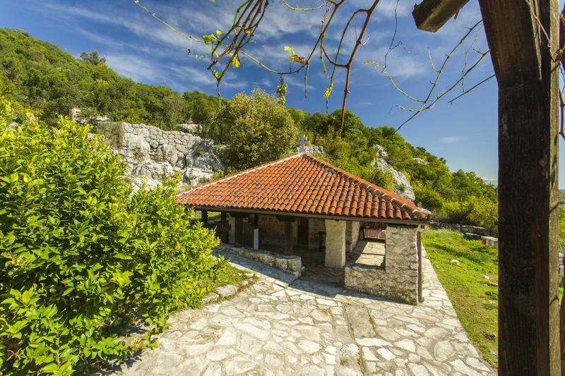 Montenegro. Skadar Lake. It is f small monastery on the island. There`s only one monk and novice. This small monastery was founded at the beginning of the royalty free stock image