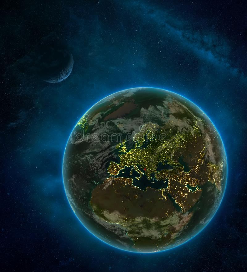 Montenegro from space on Earth at night surrounded by space with Moon and Milky Way. Detailed planet with city lights and clouds. 3D illustration. Elements of royalty free illustration