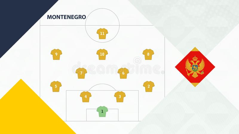 Montenegro team preferred system formation 4-2-3-1, Montenegro football team background for European soccer competition.  stock illustration