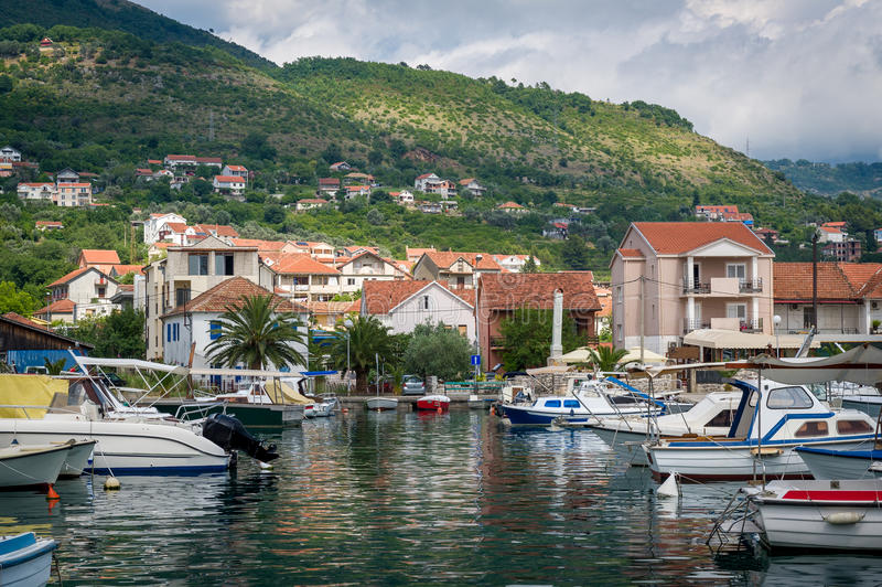 Montenegro traditional boats at fisherman's royalty free stock photo