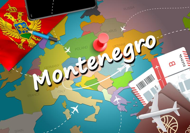 Montenegro travel concept map background with planes,tickets. Vi. Sit Montenegro travel and tourism destination concept. Montenegro flag on map. Planes and stock illustration