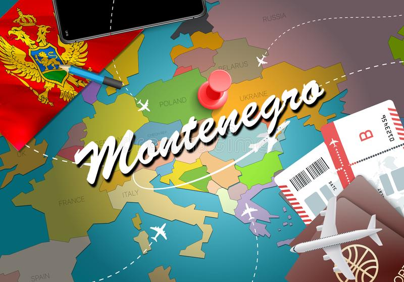 Montenegro travel concept map background with planes,tickets. Vi. Sit Montenegro travel and tourism destination concept. Montenegro flag on map. Planes and royalty free illustration