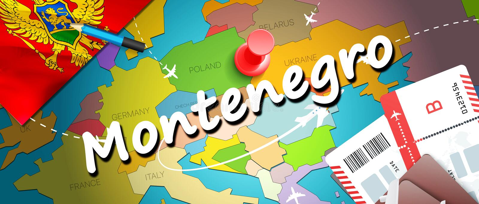 Montenegro travel concept map background with planes,tickets. Visit Montenegro travel and tourism destination concept. Montenegro. Flag on map. Planes and vector illustration