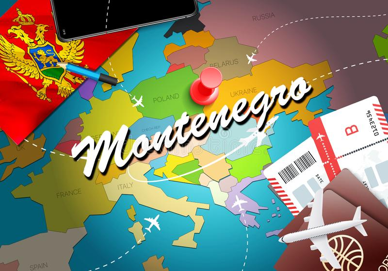 Montenegro travel concept map background with planes,tickets. Visit Montenegro travel and tourism destination concept. Montenegro. Flag on map. Planes and royalty free illustration