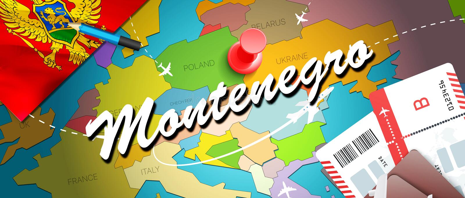 Montenegro travel concept map background with planes,tickets. Visit Montenegro travel and tourism destination concept. Montenegro. Flag on map. Planes and stock illustration