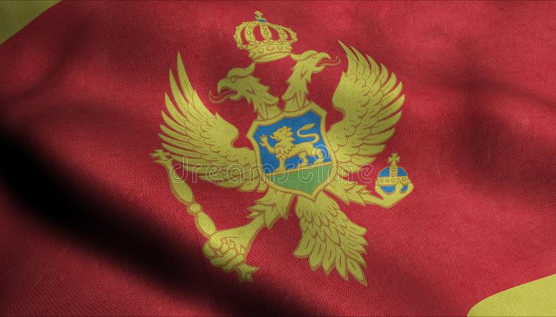Montenegro vinkande flagga i 3D stock illustrationer