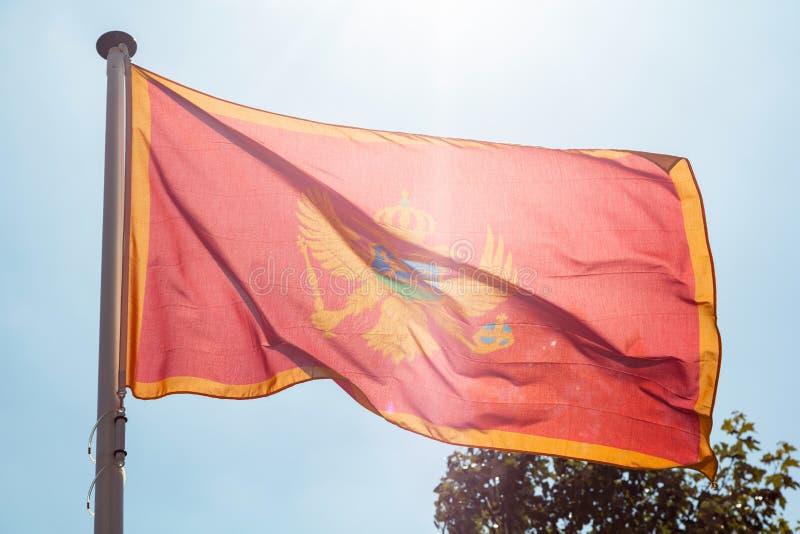 Montenegro vlag die tegen duidelijke blauwe hemel golven royalty-vrije stock foto's