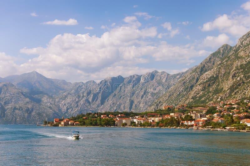 Montenegro Widok zatoka Kotor i nadmorski Dobrota wioska zdjęcia stock