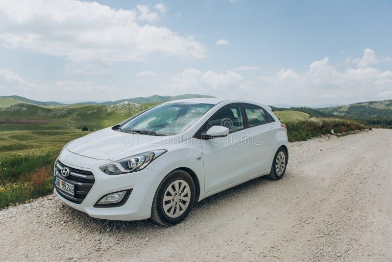 White modern Hyundai i30 car royalty free stock image