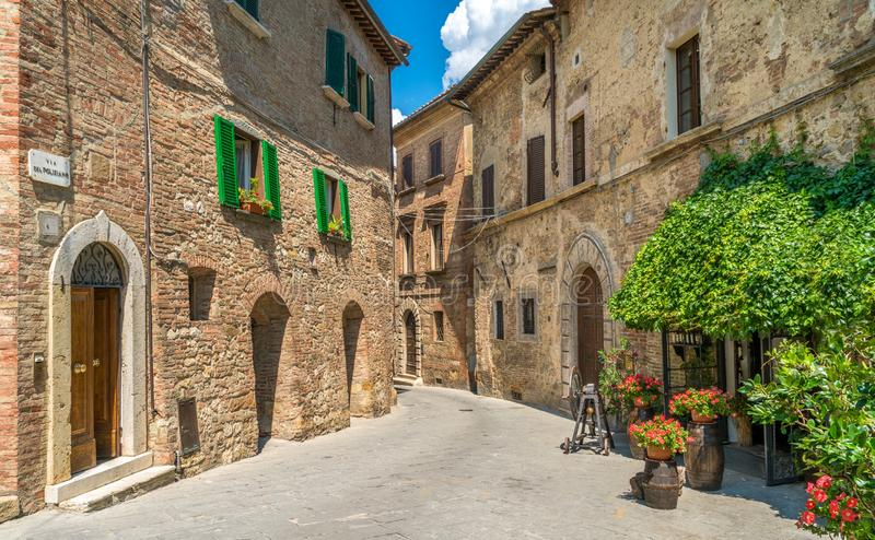 Montepulciano, διάσημη μεσαιωνική πόλη στην επαρχία της Σιένα Ιταλία Τοσκάνη στοκ εικόνες με δικαίωμα ελεύθερης χρήσης
