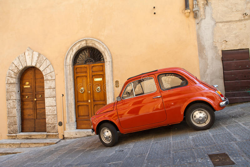 Montepulciano. Car at the town of Montepulciano in Italy royalty free stock photos