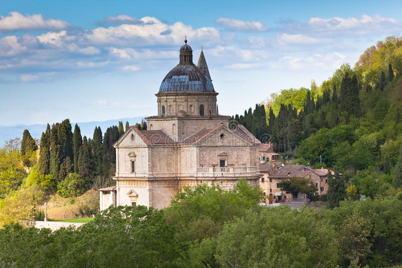 Montepulciano Cathedral. Cathedral view in Montepulciano town, Tuscany, Italy royalty free stock images