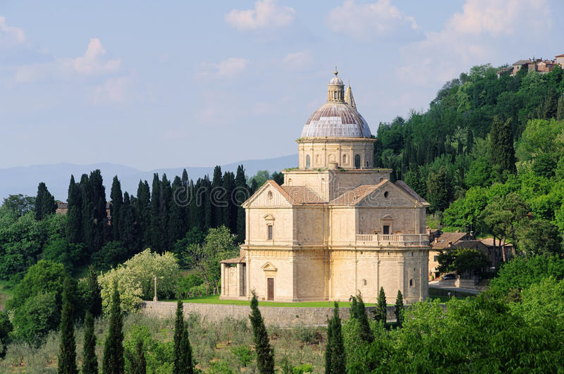 Montepulciano church. Montepulciano in Tuscany, church Madonna San Biagio stock photos