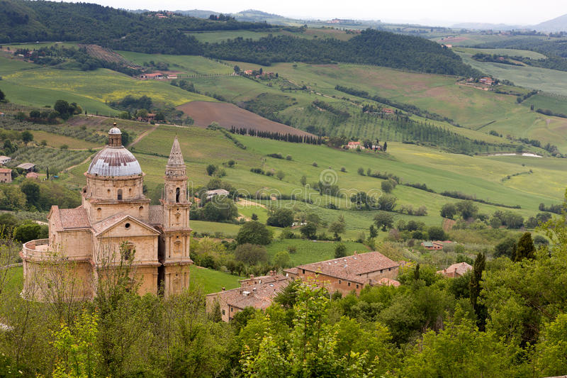 Montepulciano church. Madonna di San Biagio, a Medieval church in Montepulciano in Tuscany, Italy royalty free stock images