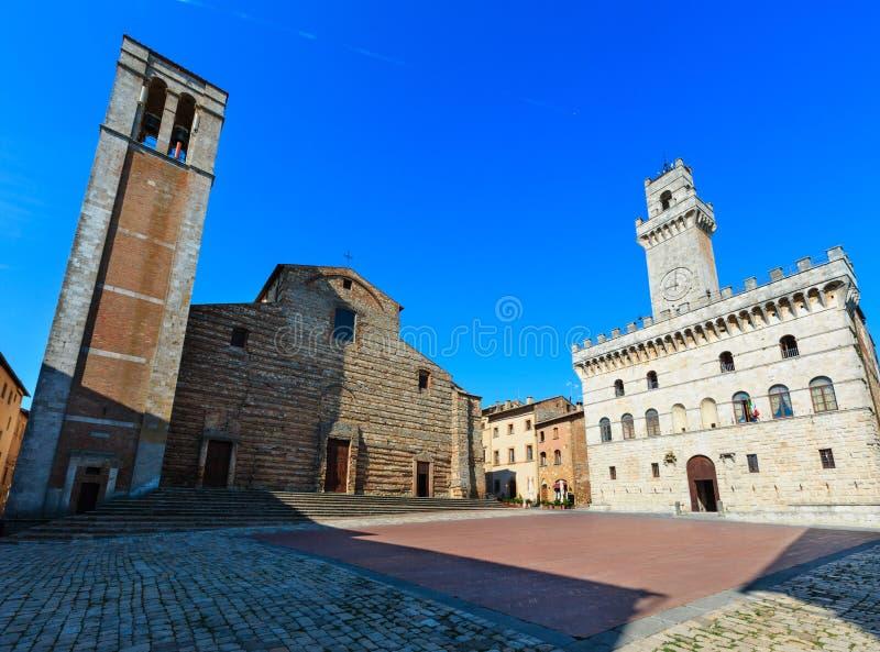 Montepulciano Piazza Grande, Tuscany, Italy. Montepulciano main square Piazza Grande with Communal Palace, Cathedral of Santa Maria Assunta, Palazzo Tarugi stock image