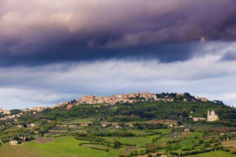 Montepulciano panorama at sunset. Tuscany landscape. Tuscany, Italy royalty free stock images