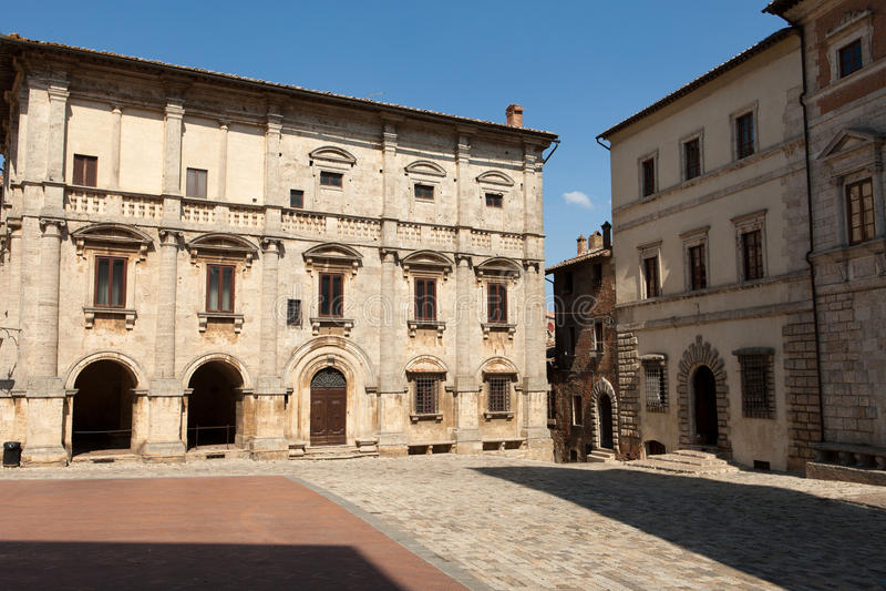 Montepulciano. Piazza Grande / Main Square/ in Montepulciano, Tuscany, Italy royalty free stock photo
