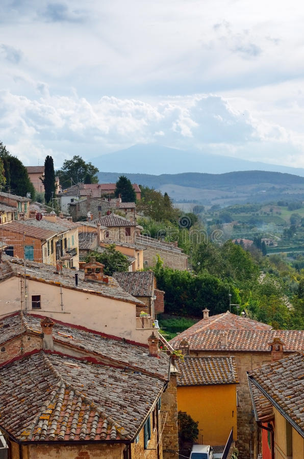 Montepulciano. Roof of medieval and Renaissance hill town of Montepulciano at evening time, Tuscan, Italy royalty free stock image