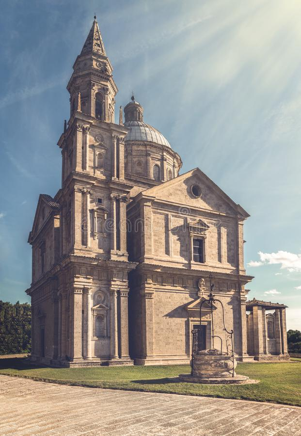Montepulciano San Biagio church. Exterior of Madonna di San Biagio church in Montepulciano, Italy royalty free stock image