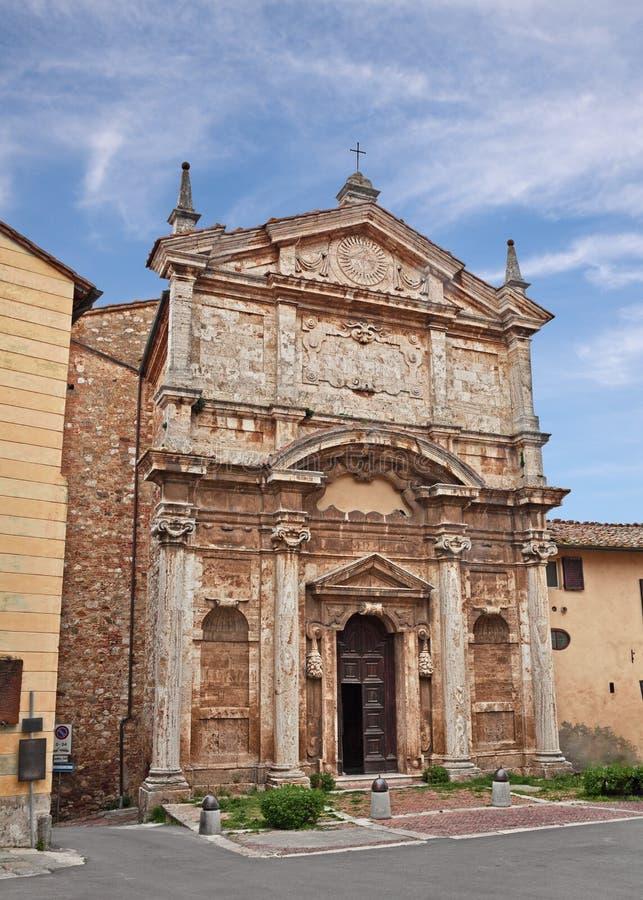 Montepulciano Siena, Tuscany, Italien: den forntida kyrkan av Santa Lucia fotografering för bildbyråer