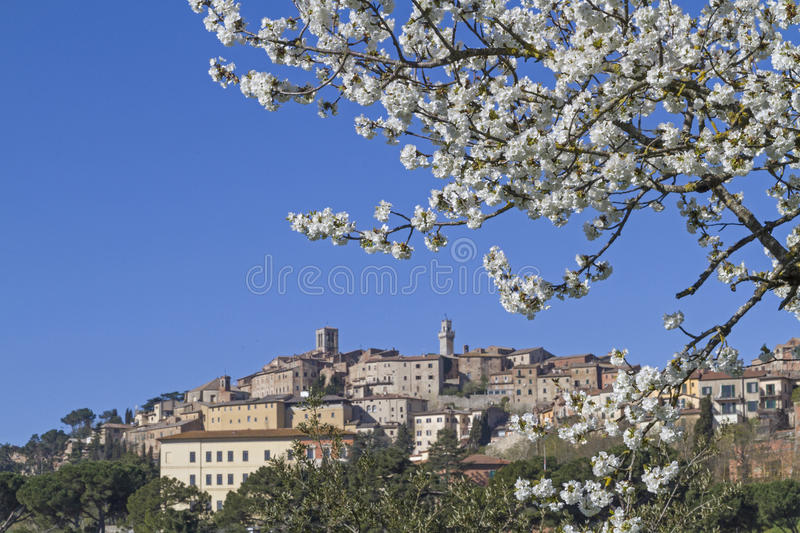Montepulciano. In the spring - an idyllic and famous wine village in Tuscany stock photography