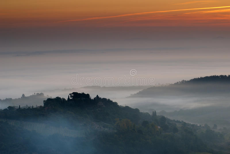 Montepulciano Sunrise, Italy. A shot over the vineyards of Montepulciano, taken at sunrise, Montepulciano, Italy royalty free stock photos