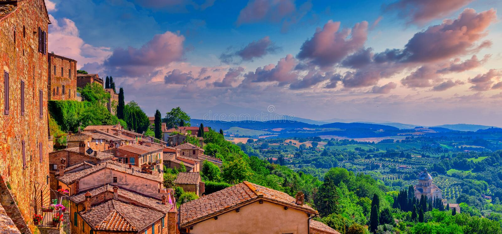 Montepulciano town and surrounding landscape in Val d`Orcia region of Tuscany, Italy royalty free stock image