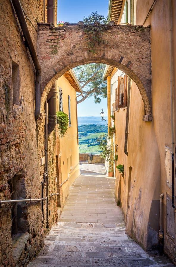 Montepulciano in Tuscany. Captivating narrow street of old Montepulciano town in Tuscany stock image