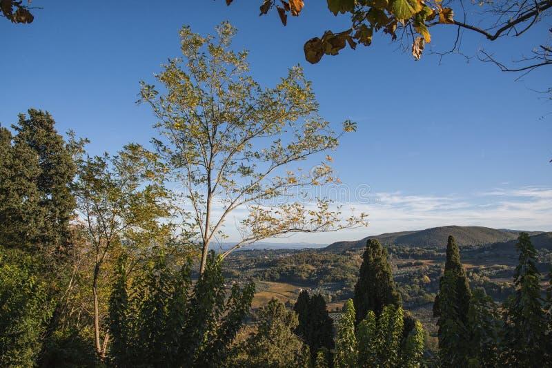 MONTEPULCIANO - TUSCANY/ITALY, 29 OKTOBER, 2016: Een idyllische landschaps grote mening over Montepulciano-platteland, zoals die  stock afbeelding