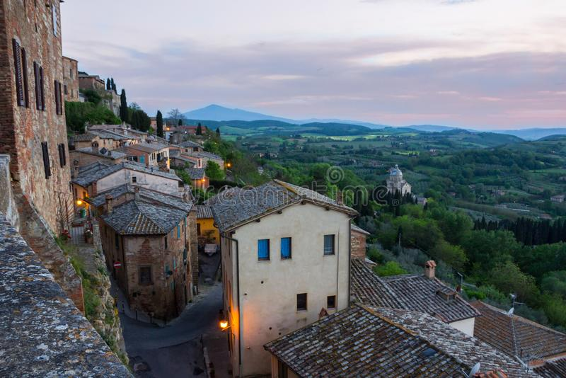 Montepulciano in Tuscany after sunset. Panorama Val di Orcia after sunset from Montepulciano stock photos