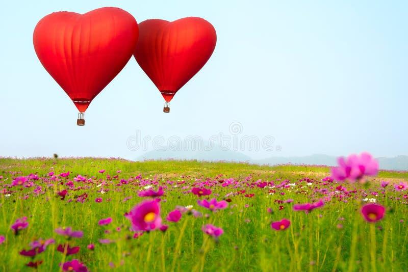 Monter en ballon de forme de coeur photographie stock