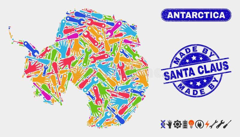 Montera Antarktis den återhållsamma översikten och skrapade gjort av Santa Claus Watermarks royaltyfri illustrationer