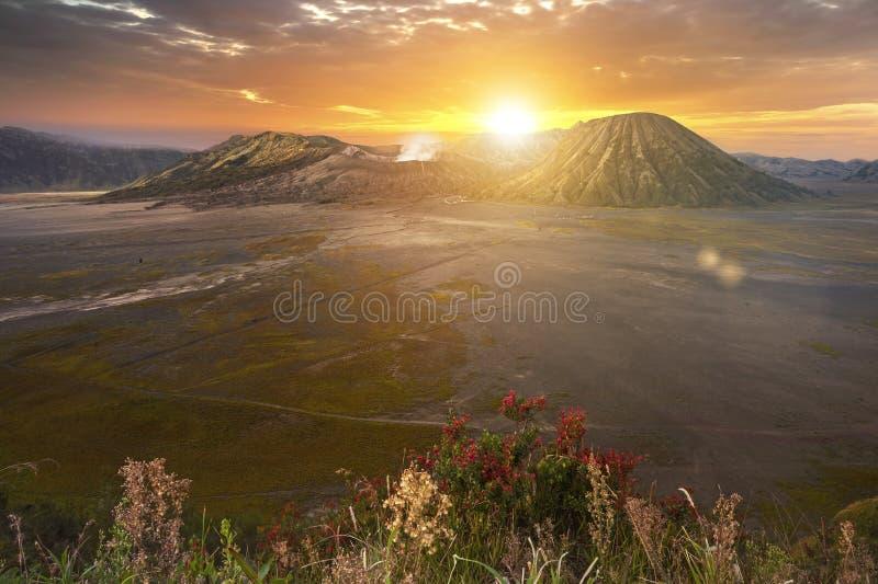 Montera Bromo Gunung Bromo på soluppgång i East Java, Indonesien arkivbilder