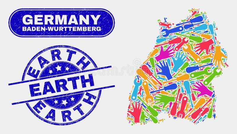Montera den Baden-Wurttemberg landöversikten och bedröva jordstämpelskyddsremsor stock illustrationer