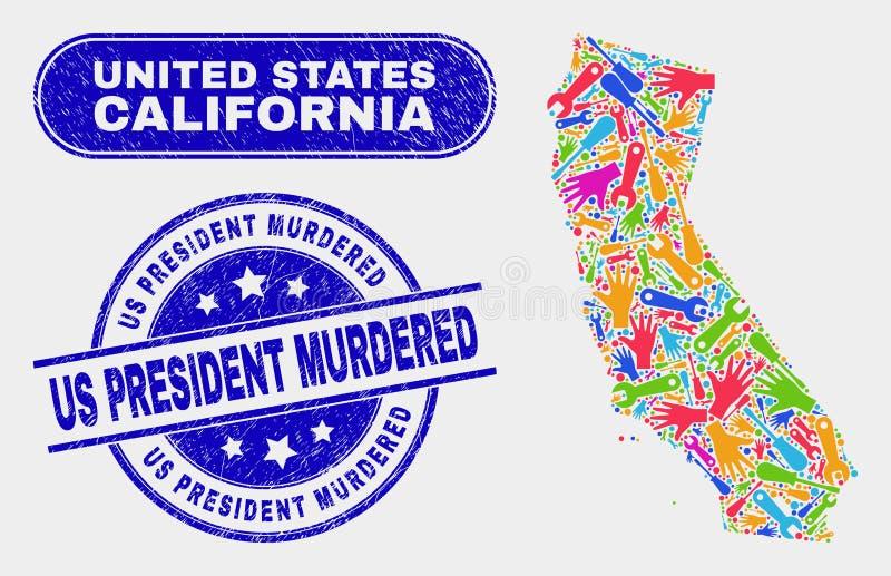 Montera den Kalifornien statöversikten och Grunge oss presidenten Murdered Seals vektor illustrationer