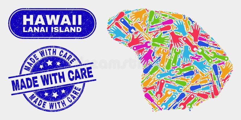 Montera den Lanai ööversikten och nödläge som göras med omsorgskyddsremsor royaltyfri illustrationer