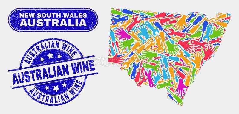 Montera den New South Wales översikten och bedröva australiska vinvattenstämplar vektor illustrationer