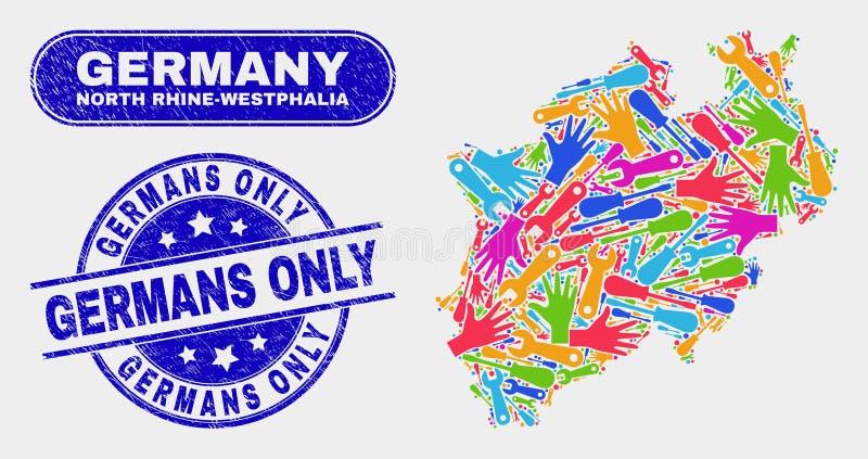 Montera den norr Rhen-Westphalia landöversikten och skrapade stämplar för tyskar endast vektor illustrationer