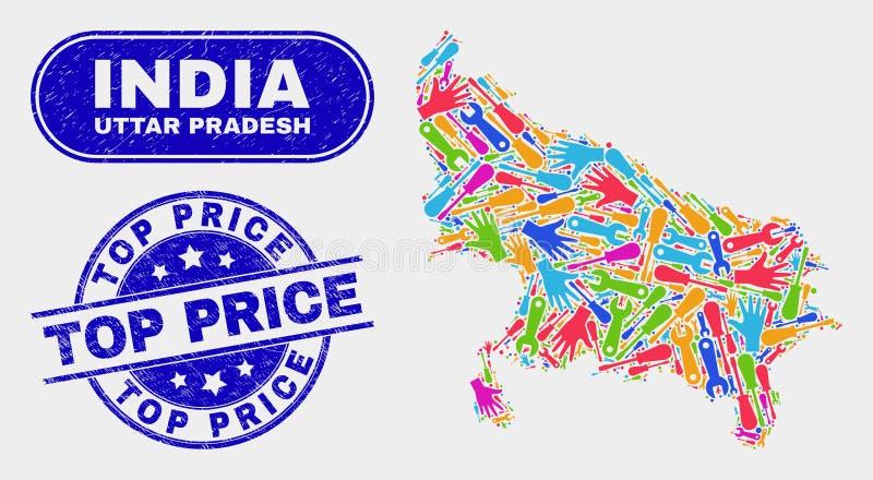 Montera den Uttar Pradesh tillståndsöversikten och skrapade bästa prisskyddsremsor vektor illustrationer