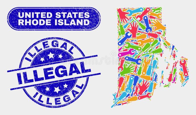 Montera Rhode Island State Map och olagliga vattenstämplar för Grunge royaltyfri illustrationer