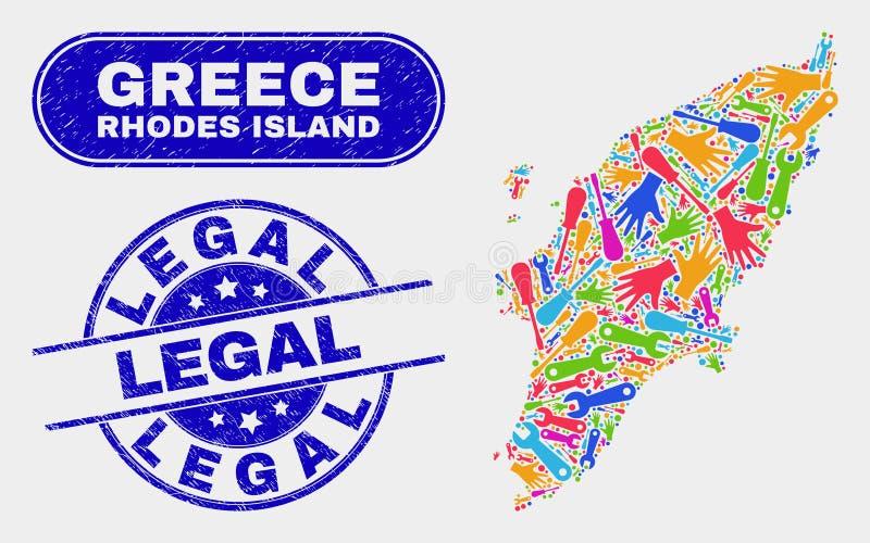 Montera Rhodes Island Map och skrapade lagliga stämplar vektor illustrationer